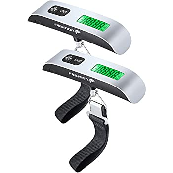 Digital Luggage Scale (2 Pack), Fosmon LCD Display Backlight Temperature Sensor Hanging Scale with Tare Function and 110lb/50kg Capacity for travel suitcase
