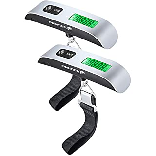 Fosmon Digital Luggage Scale (2 Pack), LCD Display Backlight Temperature Baggage Scale w/ 110lbs Capacity, Portable Stainless Steel Hanging Luggage Weight Scale w/ Tare Function for Travelers - Silver