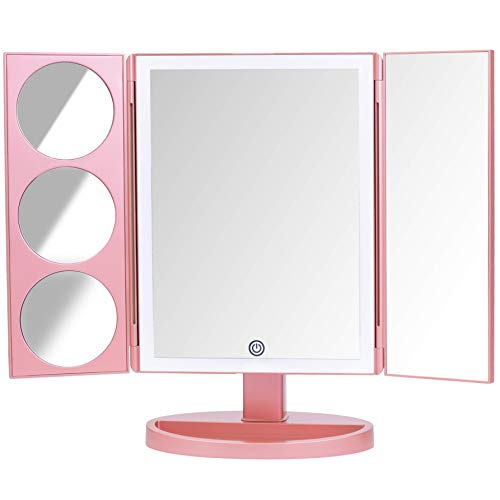 Mirrorvana XLarge Vanity Mirror with Lights | Extravagant Trifold LED Lighted Makeup Mirror with 3X, 5X, 10X Magnification & Bonus USB Cable (2018 XLarge Rose Gold ()
