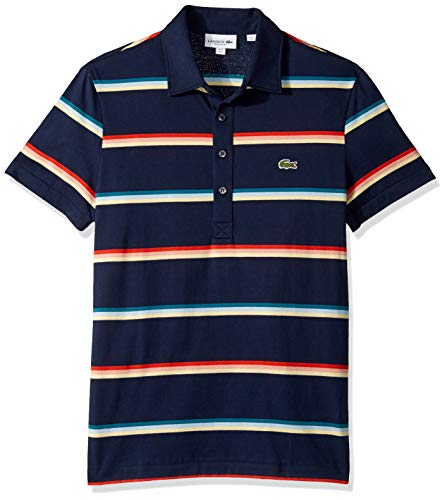 Lacoste Men's S/S Striped Light Jersey PIMA Cotton Polo Regular FIT, Navy Blue/Multi, XX-Large