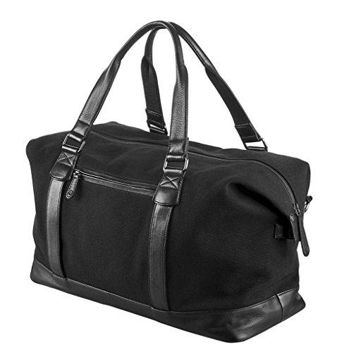 """WIND & VIBES MILAN """"ALLBLACK"""" - Weekender Reisetasche aus Baumwoll Canvas und Echtleder (Handgepäckmaße). Handgefertigte Design Tasche aus schwarzem Canvas und schwarzem Leder."""