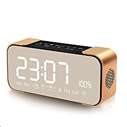 Rumfo Bluetooth Speakers, Portable Wireless Stereo Speaker with Alarm Clock, FM Radio/ TF Card/ AUX 8 Hour Play Super Bass for iPhone/ Android Phone and Tablets