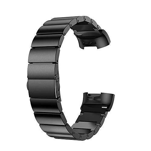 Price comparison product image for Fitbit Charge 3 Bands,  Stainless Steel Replacement Watch Band for Fitbit Charge 3 Fitness Activity Tracker Women Men Large Small (Black)
