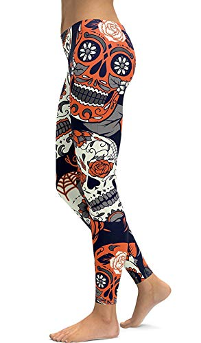 sissycos Women's Retro Printed Sugar Skull Pattern Ankle Length Elastic Tights Leggings (Medium, Orange)
