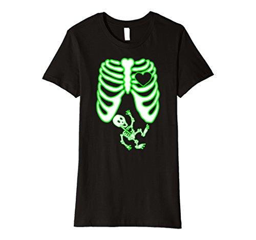 Skeleton Costumes For Pregnant Women (Womens Maternity Skeleton Shirt, Halloween, Glow in the Dark Effect Medium Black)