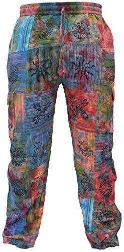 Gheri Mens Tie Dye Patchwork Colorful Hippy Cotton Cargo Pants