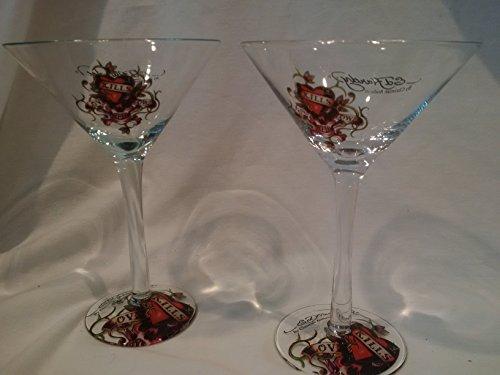 Love Kills Slowly Martini Glasses, Set of 2 Ed Hardy Martini Glasses