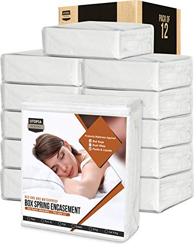 Utopia Bedding Zippered Waterproof Mattress Encasement - (Bulk Pack of 12) - Knitted Box Spring Encasements for Bed Bugs - (Twin)