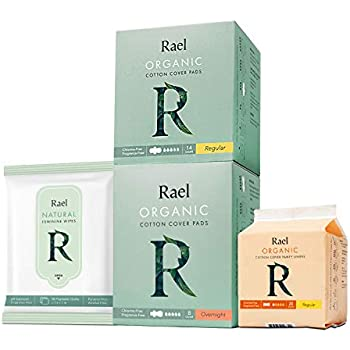 Rael Organic Pads Value Packs-Organic Cotton Regular Pads, Overnight Pads, Regular Liners and Natural Feminine Wipes by Rael (Overnight Set)