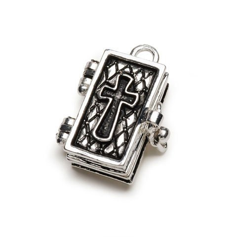 Bulk Buy: Darice DIY Crafts Charm Prayer Box Bible Antiqued Silver (3-Pack) BG2026 Antiqued Prayer Box Charm