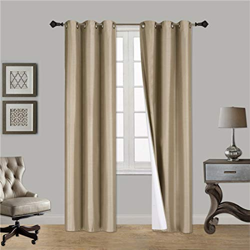 Gorgeous Home (#32) 1 Panel Solid Taupe TAN Thermal Foam Lined Blackout Heavy Thick Window Treatment Curtain Drapes Silver Grommets (95