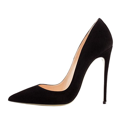 VOCOSI Women's High Heels,Pointed Toe Patent Pumps Shoes for Ladies Party Dress 4.7 inches Black(suede)