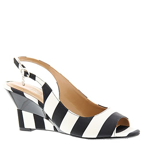 J.Renee Women's Sailaway Wedge Pump, Black/White, 8.5 W US by J.Renee