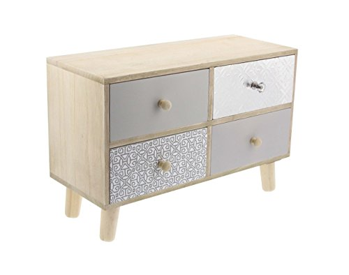 Deco 79 85260 Wood and Aluminum 4-Drawer Jewelry Chest, 10