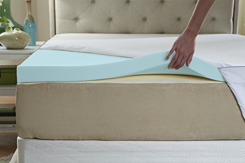 Nature's Sleep AirCool IQ King Size 2.5 Inch Thick 3lb Density Gel Memory Foam Mattress Topper with Microfiber Fitted Cover and 18 Inch Skirt