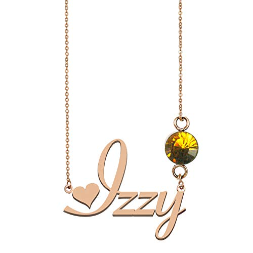Name Necklace Sterling Silver Personalized 925 Birthstone Pendants for Women Izzy ()