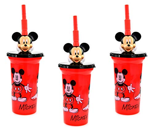 ([3-Pack] Disney Mickey Mouse 15oz Buddy Sip Tumbler Cup with Lid & Straw, BPA-Free)