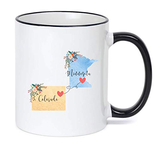 Minnesota Colorado Mug State to State Coffee Cup Gift Two State Mug Best Friend Mom Girlfriend Aunt Grandma Birthday Mother's Day Going Away Present Moving New Job Gifts (Best Friend State Mugs)