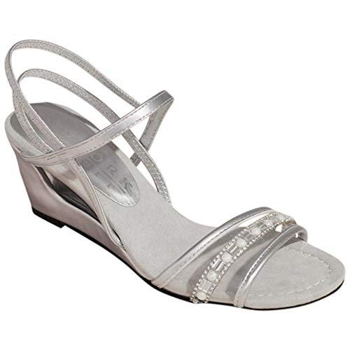 David's Bridal Metallic Clear Vamp Wedges with Embellishments Style Festivity, Silver, 7.5