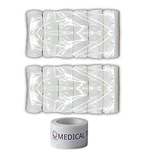 Sterile Non Stretch Gauze Bandage (12 Conforming Stretch Gauze Rolls 4''X4.1 yds - Plus 1 Roll of Vakly Medical Tape)