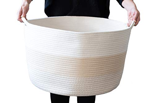 XXXL Cotton Rope Woven Basket Extra Large Tall White Decorative Baskets for Blanket Storage, Baby Nursery Hamper Bin, Toy Tote - Cute Round Laundry and Towel Baskets with Handles 21.7