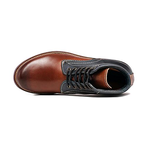Mens Leder Freizeit Sehnen Schuhe Dress Herbst Business Stiefel Mode Rutschen Schwarzbraun A