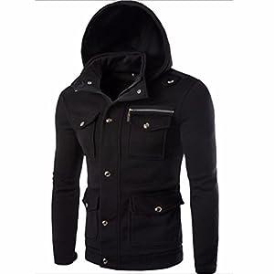 Men Winter Jacket,Todaies Men Pocket Solid Coat Fashion Swearshirt Hoodie Long Sleeve Outwear (XL, Black)
