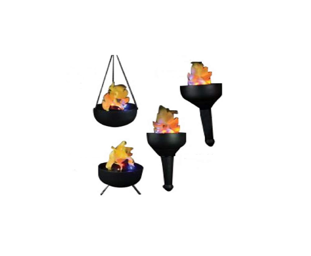 Lightahead Portable 4 in1 Artificial Flame Tikki Torch, Wall, Hanging & Floor Mode, Fake Fire, Realistic Silk Flame Effect