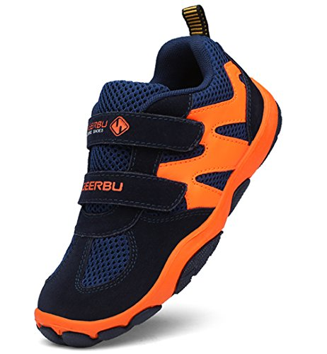- DADAWEN Kid's Breathable Outdoor Hiking Sneakers Strap Athletic Running Shoes Dark Blue/Orange US Size 2 M Little Kid