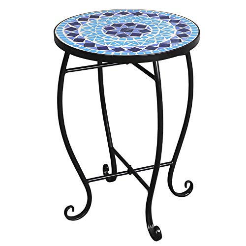 Lucidz Side Table Round Mosaic Accent Patio Plant Stand Porch Balcony Back Deck Iron Legs