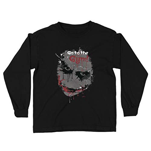 lepni.me Kids T-Shirt Go to The Gym Scary Face Clown Motivational Workout (9-11 Years Black Multi Color) (Scary Stories To Tell In The Dark Artist)
