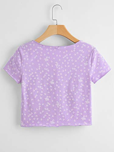 SweatyRocks Women's Floral Print Crop Tops Short Sleeve V-Neck Tee T Shirt Printed