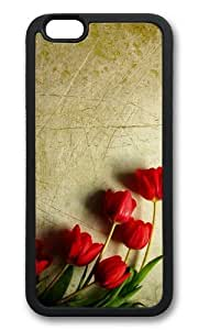 MOKSHOP Adorable grunge red tulips Soft Case Protective Shell Cell Phone Cover For Apple Iphone 6 Plus (5.5 Inch) - TPU Black