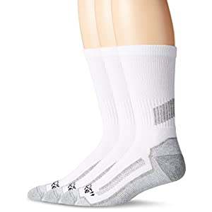 Carhartt Men's 3 Pack Force Performance Work Crew Socks,White,Large(Shoe Size:6-12/Sock Size: 10-13)