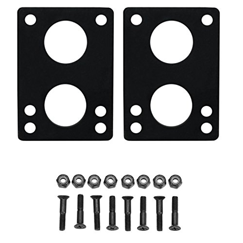 "Longboard Riser Pads and Hardware 1/4"" (6mm) Black Risers and 1 1/2"" Bolts"