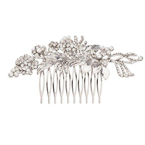 Floral imitation Pearl Crystal Leaf Bridal Hair Comb (Bridal Floral Veil)