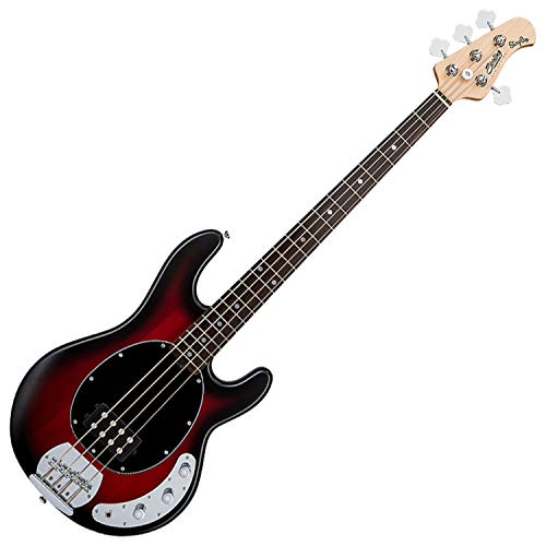 Sterling by Music Man StingRay Ray4 Bass Guitar in Ruby Red Burst Satin