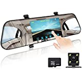 Dash Cam, 5 Ips Touch Screen FHD 1296p 170 Degree Wide Angle Night Vision Dashboard Car Camera Recorder with G-Sensor,Loop Recording,Parking Monitor,WDR,16GB Card Included