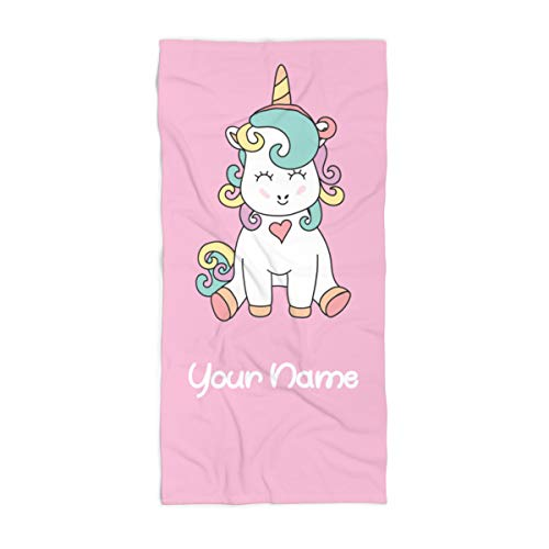 "Extra Large Personalized Unicorn Towel for Kids - Oversized Thick Cotton Custom Travel Beach Pool and Bath Towels for Adults Toddler Baby Boys Girls Elsa (Beach Towel 35""x70"")"