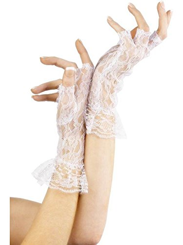Fever (White Lace Fingerless Gloves)