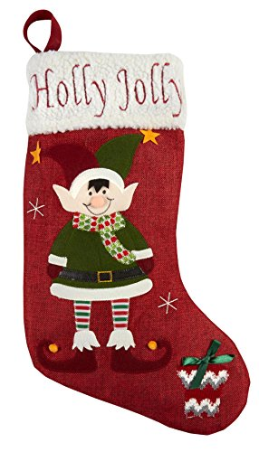 - Nantucket Home Holly Jolly Elf Sherpa Cuff Burlap Christmas Holiday Stocking, 19-Inch x 11-Inch