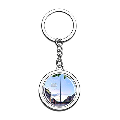 Ireland Keychain Dublin Spire Key Chain 3D Crystal Spinning Round Stainless Steel Keychains Travel City Souvenirs Key Chain Ring]()