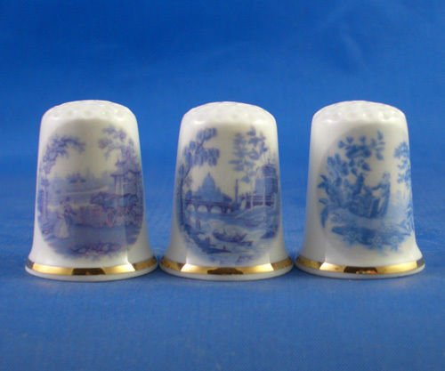Porcelain China Collectable Thimbles - Set of Three Blue Designs