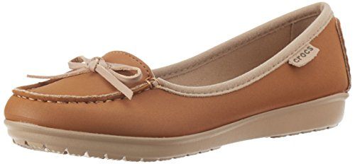 Crocs Womens Wrap ColorLite Ballet Flat Shoes, Hazelnut/Tumbleweed, US 10 by Crocs