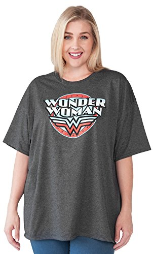 Wonder+Woman+Shirts Products : Wonder Woman Plus Size T-shirt DC Comics Distressed Logo Print Charcoal Heather