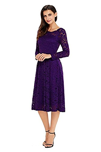 Elegant Adodress Formal 2 Dresses Boat Women's Cocktail Sleeve Long Homecoming Neck Purple lace1 Swing aaTn5qrw