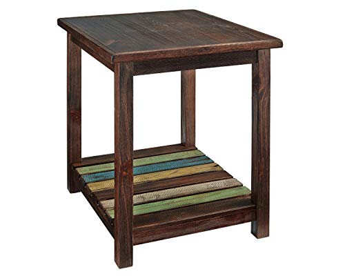Signature Design by Ashley - Mestler Rustic Chairside End Table Brown, Brown/Multi Colored (End Sale Rustic For Tables)