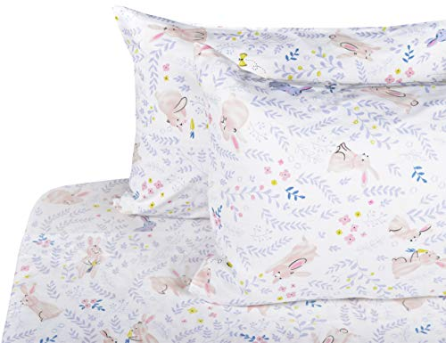 J-pinno Girls Cute Rabbit Bunny Cute Rabbit Bunny Double Layer Muslin Cotton Bed Sheet Set Full, Flat Sheet & Fitted Sheet & Pillowcase Natural Hypoallergenic Bedding Set (21, Full)