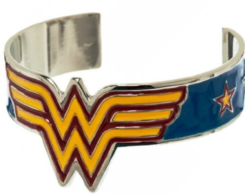 DC Comics WONDER WOMAN Metal Logo w/Enamel Finish Cuff BRACELET (Wonder Woman Cuff Bracelet)