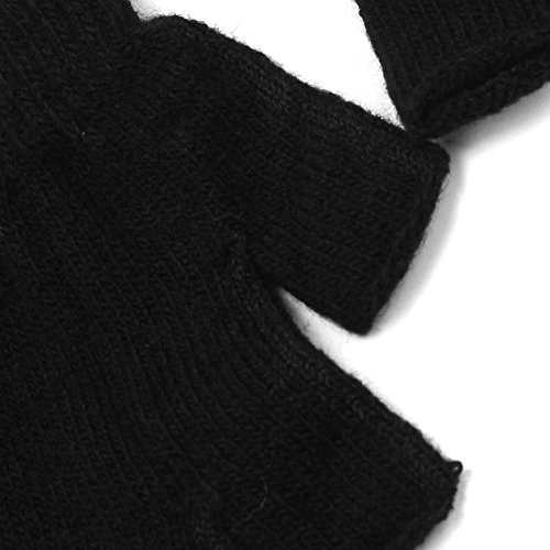 Refaxi Men Black Knitted Stretch Elastic Warm Half Finger Fingerless Gloves for Winter by ReFaXi (Image #4)